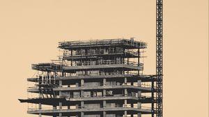 Превью обои здание, кран, конструкция, архитектура, стройка