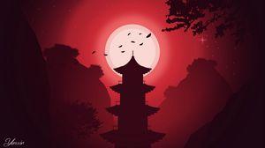 Превью обои здание, луна, ночь, вектор, арт, красный