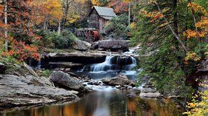 Превью обои здание, река, течение, деревья