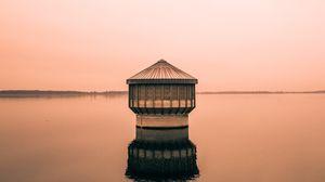 Превью обои здание, вода, минимализм