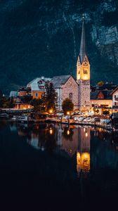 Превью обои здания, архитектура, озеро, вечер, город
