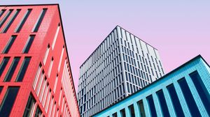 Превью обои здания, архитектура, разноцветный, симметрия, минимализм
