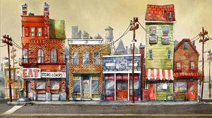 Превью обои здания, арт, улица, город