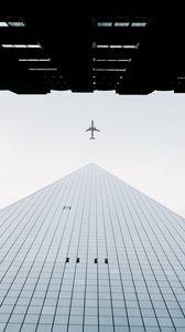 Превью обои здания, самолет, небо, минимализм