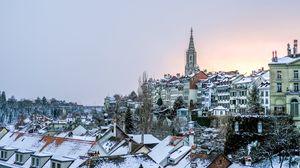 Превью обои здания, крыши, зима, снег