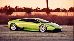 Превью обои зеленый, авто, стиль, ламборджини, спорт