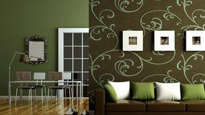 Превью обои зеленый, квартира, коричневый, интерьер, стиль, дизайн