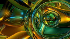 Превью обои зеленый, желтый, блеск, слияние, устройство