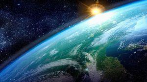 Превью обои земля, солнце, планета, поверхность, звезды
