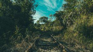 Превью обои железная дорога, деревья, трава, небо