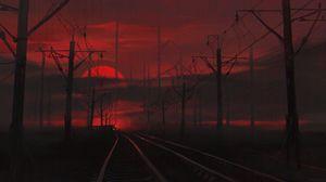Превью обои железная дорога, ночь, арт, темный, красный