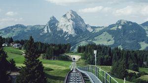 Превью обои железная дорога, рельсы, горы, природа, пейзаж