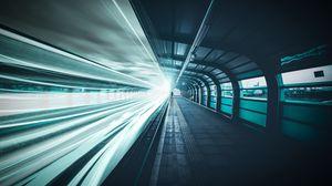 Превью обои железная дорога, подземный, человек, линии, свет