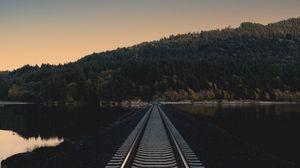 Превью обои железная дорога, вечер, горизонт