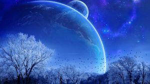 Превью обои зима, деревья, птицы, планеты, звезды