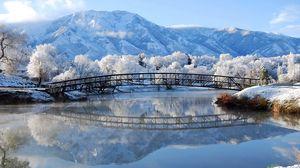 Превью обои зима, мост, пейзаж