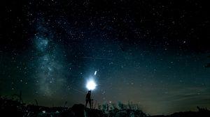 Превью обои звездное небо, человек, свет, блеск
