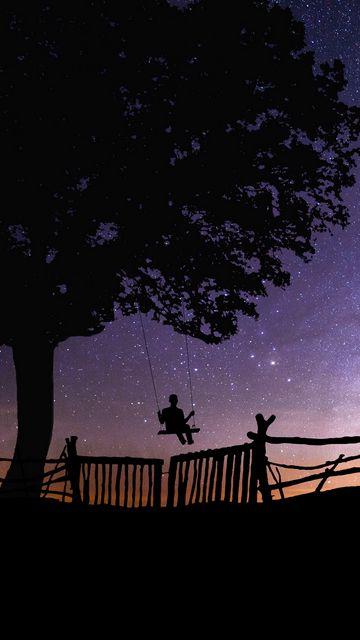 360x640 Обои звездное небо, силуэт, качели, дерево, ночь
