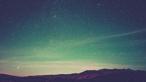 Превью обои звездное небо, сияние, горы, небо