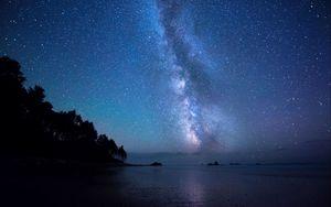 Превью обои звезды, небо, берег