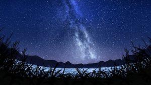 Превью обои звезды, звездное небо, млечный путь, арт, ночь, небо, трава