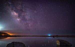 Превью обои звезды, звездное небо, ночь, фиолетовый